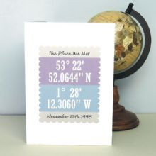 Personalised Co-ordinates Card - Unique Valentine's Day or Anniversary card